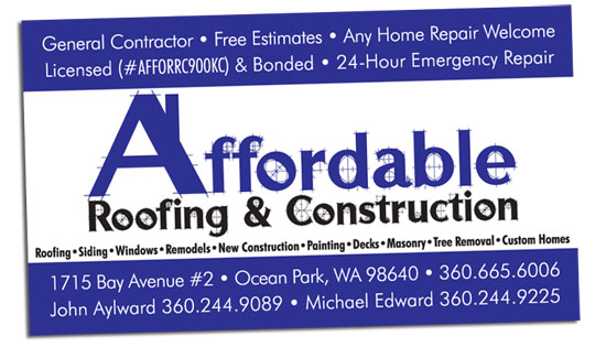 affordable roofing business card - Roofing Business Cards