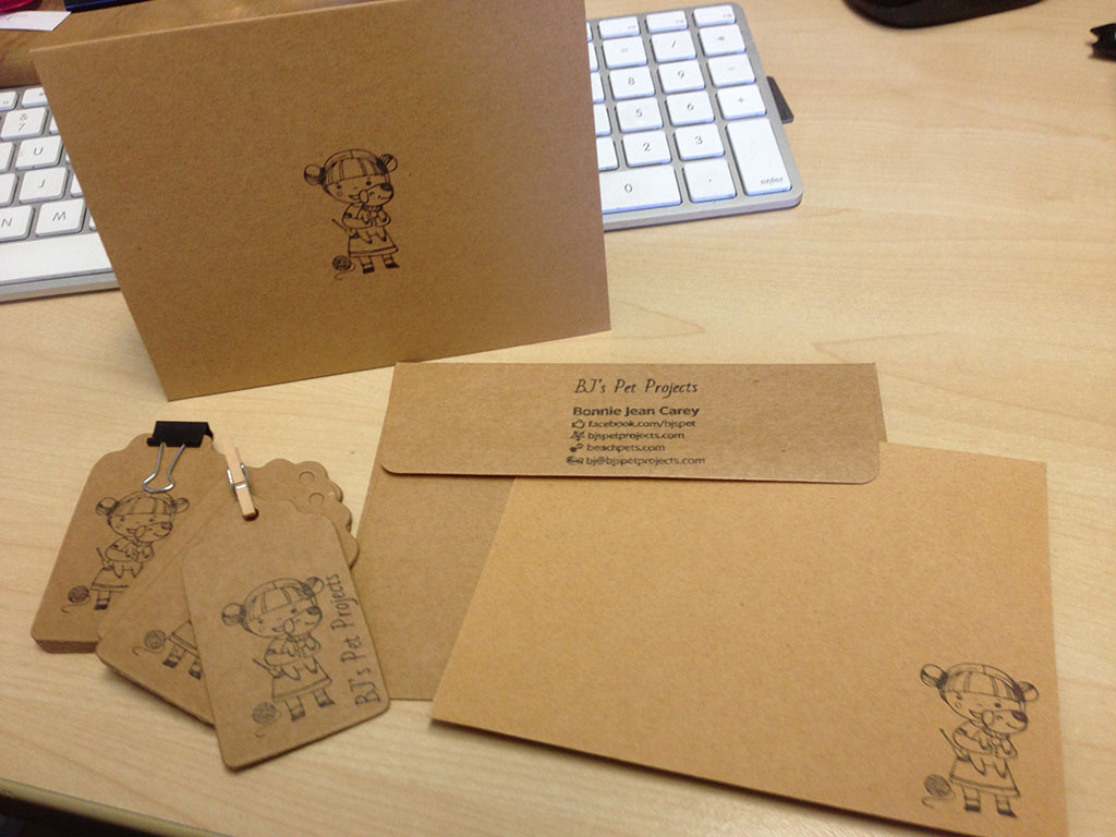 rubber stamps, sales collateral